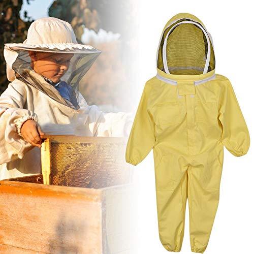 iBaste Kinder Bienen Schutzbekleidung, 120-130 cm Anti-Bienen-Anzug Bienenzucht Gelb Baumwolle Kinder Overall Raumanzug Camouflage ()