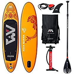 "AQUA-MARINA Stand up Paddle Gonflable Sup AQUAMARINA Fusion 2019 Pack Complet 315x76x15cm Unisex Adult, Orange, 3157615 10'4""x30''x6''"