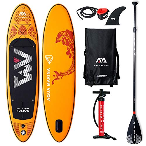 AQUA-MARINA Stand up Paddle Gonflable Sup AQUAMARINA Fusion 2019 Pack Complet 315x76x15cm Unisex Adult, Orange, 3157615 10'4'x30''x6''
