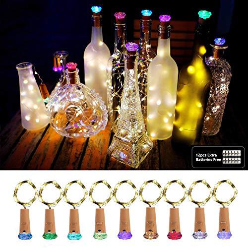 Luci per bottiglie, aoluxlm 9x20 led bottiglia luci con 12 batteria di ricambio, luci a catena bianco caldo, tappo del vino bottiglia fata luci per diy decorazione festa matrimonio halloween natale