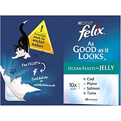 Felix As Good As It Looks Adult Cat Food Ocean Feasts in Jelly, 40 x 100g from Felix