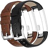Vancle Lot de 2 Bracelets de Rechange en Cuir pour Fitbit Alta HR Unisexe