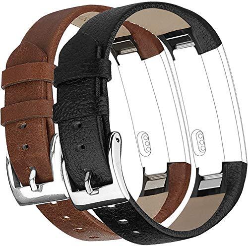 Vancle Armband kompatibel für Fitbit Alta HR Band (2 Stück), Leder, Alta Band, verstellbar, bequemes Ersatz-Lederband für Fitbit Alta Fitbit Alta HR Unisex Fitness-Armband