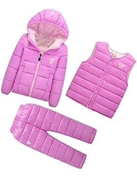 Dr.mama Baby Jungen Mädchen Down Jacket 3tlg Kinder Winterjacke mit Kapuze Outerwear Steppjacke+Weste+Hose Ein...