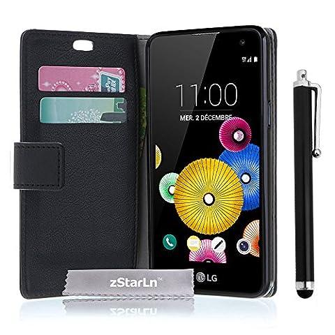 zStarLn® nior Luxe Portefeuille Etui Housse pour LG K5 Coque en PU cuir + 3 Films en Stylet Touch Pen