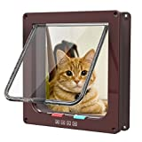 Sailnovo Katzenklappe 4-Way Magnetic Lock hundeklappe Haustiertüre Cat Flap große, 23.5*25*5.5cm Dog Cat Pet Door Flap Easy Install with Telescopic Frame with Heavy Duty Quiet Magnetic Frame, L braun