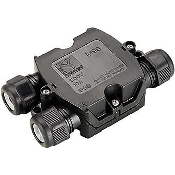 SLV 228726IP 68Connexion Box, 3pôles, câble Diamètre entre 6et 11mm, plastique, Noir,,, 12x 4cm