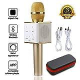 JDSenYe Mic 3-en-1 Bluetooth Magique Karaoké Sans Fil Microphones Haut-Parleur Pour Apple iPhone Android Smartphone PC Musique Jouer Chanter Maison KTV Cadeau (Q7 G-Or)