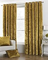 "Deep Pile Crushed Velvet Ochre Gold Lined 66"" X 72"" - 168cm X 183cm Ring Top Curtains by Curtains"