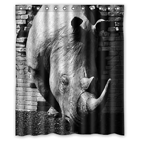 Funny Rhino Shower Curtain - Pretty Clean Look Rhino Bathroom Shower Curtains Polyester Waterproof 60 Wide x 72 High