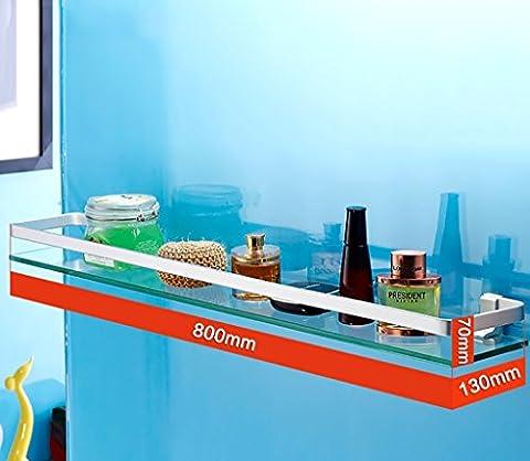 salle de bain étagère Salle de bain Espace étagé Aluminium Salle de bain Machine à laver Miroir Étagère avant Murs de salle de bain Cadre en verre unique salle de bain étagères ( taille : 80cm )
