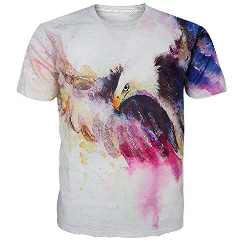 Leapparel Unisex Eagle Tie-Dye Blätter Design Kurzarm T-Shirts T-Shirts Kleider M (Klein Tie Dye Herren)