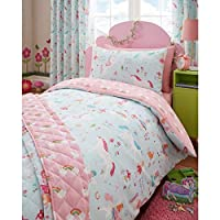 Kidz Club Magical Unicorns Childrens Single Bed Duvet Cover and Pillowcase, Blue, Polyester-Cotton,