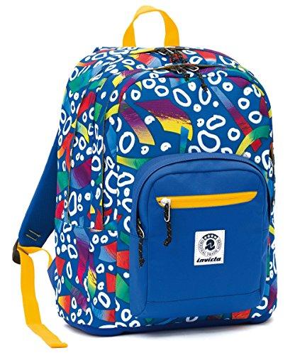 ZAINO INVICTA - FORMAT - Blue Giallo Fantasy - tasca porta pc padded - scuola e tempo libero 33 LT