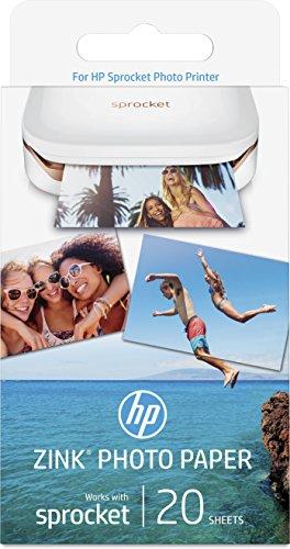 HP ZINK - Papel fotográfico adhesivo (20 hojas/5 x 7,6 cm)