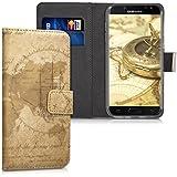 kwmobile Hülle für Samsung Galaxy J5 (2017) DUOS - Wallet Case Handy Schutzhülle Kunstleder - Handycover Klapphülle mit Kartenfach und Ständer Weltkarte Vintage Design Braun Hellbraun