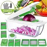Gemüseschneider 8 in 1 Einstellbar,Gemüsehobel mit Messereinsätzen zum Hobeln Raspeln Stifteln Scheibenschneiden, Eiertrenner, Bürste, Handschuhe