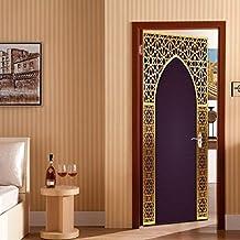 Etiqueta Engomada De La Puerta 3D Creativo Estilo árabe Pegatinas De Pared Decorativas Extraíble Bricolaje Papel