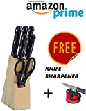 #9: ABbuy Stainless Steel Knife Set with Knife Sharpener - Kitchen Knife Set with Wooden Stand - 7 Pieces