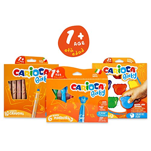 CARIOCA SET BABY 1+ 53218 Kit Colori Pennarelli Pastelloni e Pastelli per Bambini dai 12 mesi 22 pezzi
