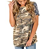 JUTOO Dawomen Camouflage Print American Flag Kurzarm Tops Bluse T-Shirt Tee