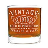 Spotted Dog Company Vintage 1970 Etched 11oz Whiskey Rocks Glass - 50th Birthday Aged to Perfection - 50 Years Old Gifts Bourbon Scotch Lowball Old Fashioned