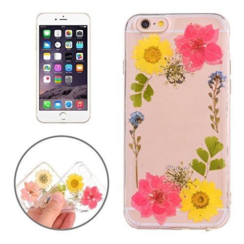 Easy go shopping custodia protettiva in tpu trasparente rigata con fiore reale essiccato a gocciolamento epossidico per iphone 6 e 6s (sku : ip6g2996k)