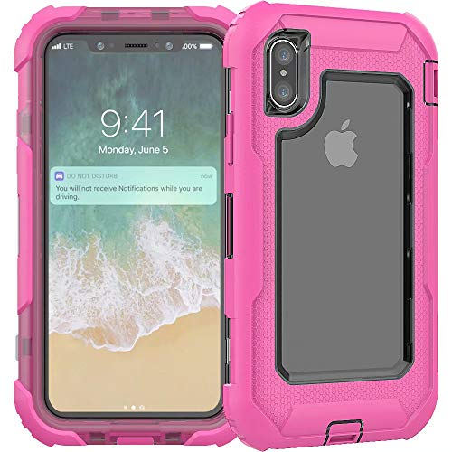 3C-LIFE iPhone7 Plus Heavy Duty Case, Triple Protective Layer Full Body Shockproof Bumper Case with Swivel Belt Clip and Kickstand für (Rosered) Cellular Connection Interface