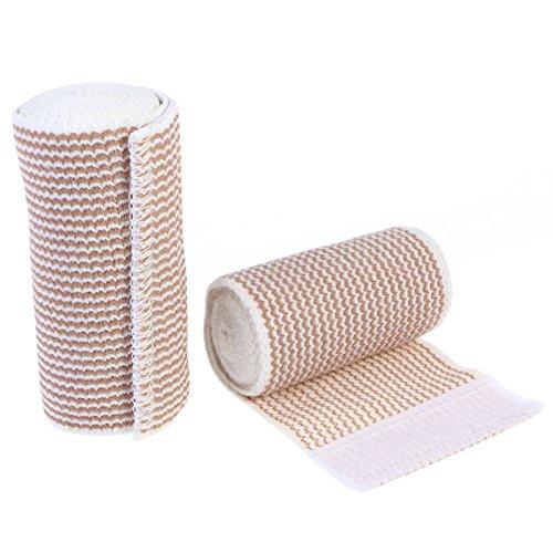 ULTNICE 2pcs Haftbandage Baumwolle elastische Bandage Kompression Binde mit Klettverschluss an einem Ende