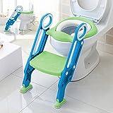 Aitsite Sedile Vasino Riduttore WC Kit Toilette Trainer Step Up con Scaletta Pieghevole Sedile del Water per il bambino (Verde)