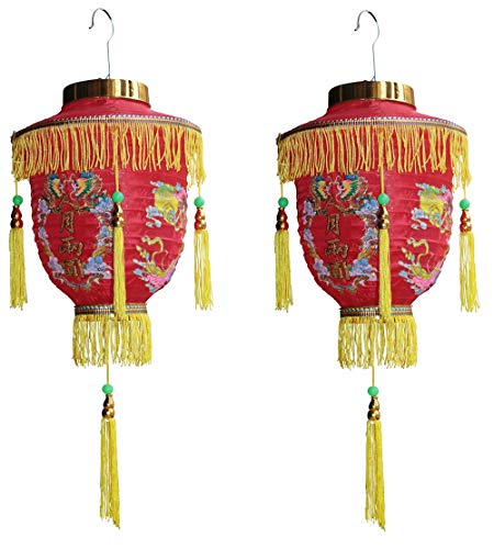 2 Laternen japanische chinesische asiatische Lampions Dekoration mit Quasten lantern Lampenschirm Sushi