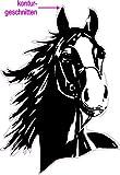 blattwerk-design Aufkleber Pferd - konturgeschnitten - Farbe schwarz - outdoor, Pferde, Reitsport, Größe ca. 130 mm x 100 mm