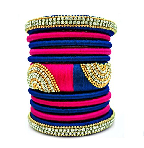 Youth Royal Blue - Pink Colour Grand Kada Bridal Silk Thread Bangle Set