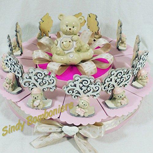 Torta bomboniera comunione battesimo con albero della vita e orsetti bimba (torta 12 fette)