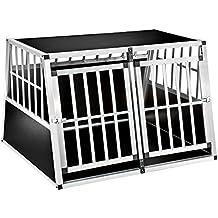 TecTake XXL Transportín doble para perros box jaula de transporte aluminio trapezoidal (ancho x profundo x alto): 104 x 91 x 69,4 cm