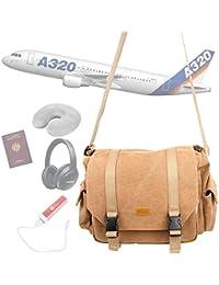 """DURAGADGET Sacoche en toile """"vintage"""" / bagage à main en cabine pour voyage en avion avec compartiments ajustables - couleur sable (Conforme normes aéroportuaires)"""