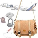 DURAGADGET Sacoche en toile'vintage' / bagage à main en cabine pour voyage en avion avec compartiments ajustables - couleur sable (Conforme normes aéroportuaires)