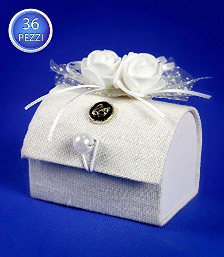 Vetrineinrete scatoline portaconfetti a forma di baule 36 pezzi per matrimonio comunione scatole per confetti bomboniere segnaposto in tessuto avorio chiusura perla 86286 c71