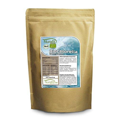 Nurafit BIO Chlorella Tabletten, rein natürlich, Algen Superfood Tabs Presslinge, 4000 Kapseln, enthält B-Vitamine, 1000g / 1kg Packung -