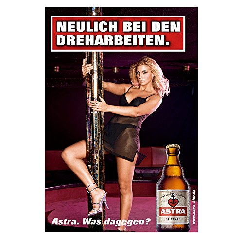 """ASTRA BIER PLAKAT POSTER """"NEULICH BEI DEN DREHARBEITEN"""" WERBUNG REKLAME 42 x 59,4 cm"""