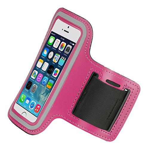 Caseit Universal Sports- und Fitness Armband Pouch Case Cover Hülle Verstellbar mit Praktischem Schlüsselfach, für Mittelgröße Smartphones - Pink Armband Case Cover