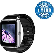 Captcha GT08 Bluetooth Smartwatch With Camera Support for Android/iOS Devices (Silver)
