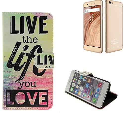 Für Blaupunkt SL02 360° Wallet Case Schutz Hülle ''live The Life You Love'' Schutzhülle Handy Hülle Handyhülle Handy Tasche Etui Smartphone Flip Cover Flipstyle für Blaupunkt SL02 - K-S-Tr
