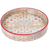 Scrafts Green And Pink Floral Print Round Wooden Serving Tray (9x9x1.5inch)