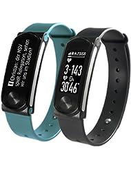 SportPlus Q-Band HR+ mit optischem Herzfrequenzsensor, Smartwatch, Aktivitäts-/Schlaftracker, 4-zeiliges OLED Display, für iOS und Android
