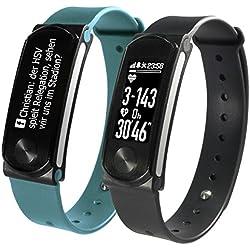 SportPlus - Montre connectée intelligente Q Plus - Suivi du Sommeil / Activité physique / Fréquence Cardiaque / Calories dépensées - Ecran OLED - 2 Bracelets inclus - Compatible avec iOS et Android