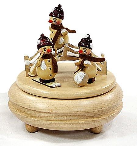 Holzspieldose mit lustigen, stehenden Schneemannfiguren, Melodie: Leise rieselt der Schnee,