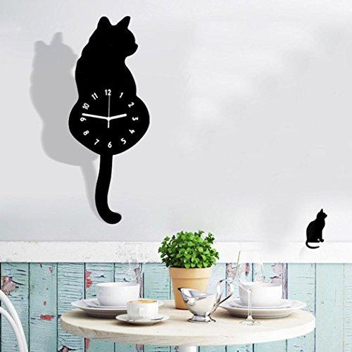 Preisvergleich Produktbild Funk-Wanduhr Küchenuhr Nette Katze Der Schwanz kann sich bewegen LuckyGirls