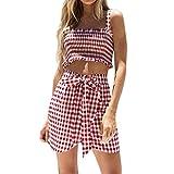 Vestido fiesta mujer , Amlaiworld Conjunto de vestido mujer niña verano 2018 Mujer Tartán Tops Blusa de Vestir Chaleco y falda larga Conjunto (rojo, M)