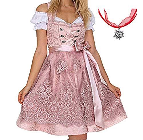 Kleid Kostüm Kurzarm - Jodimitty Tracht Kleid Damen Dirndl für Oktoberfest Traditionall Kostüme Kurzarm Mini Baumwolle 3 TLG Trachtenkleid
